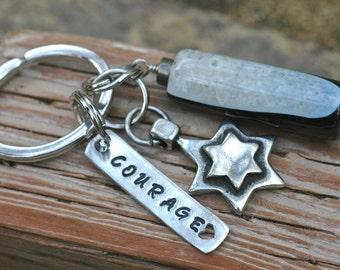 Courage Keychain; Star Pendant with Large Fire Agate Gemstone Keychain; Inspirational Gemstone Keychain