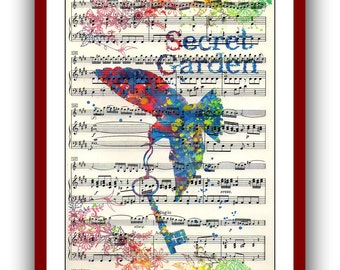 The Secret Garden  Poster 2 Watercolor  School Musical Poster  Wall Art Print 8x10 Wall Decor  Book Page Upcycled Dictionary
