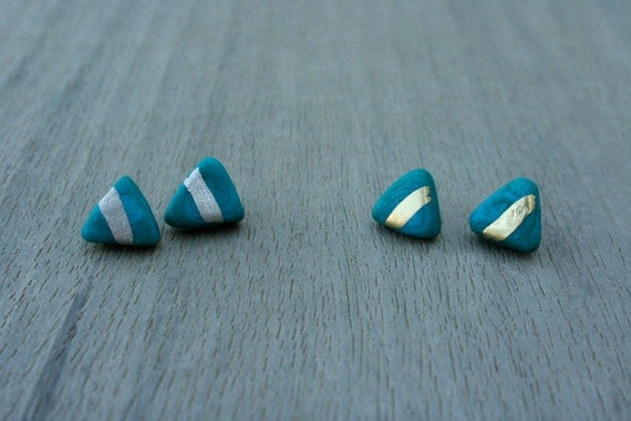 Teal Triangle Clay Studs // Gold or Sterling Silver // Bridesmaid Gift // Gifts for Her // Wedding // Stocking Stuffer