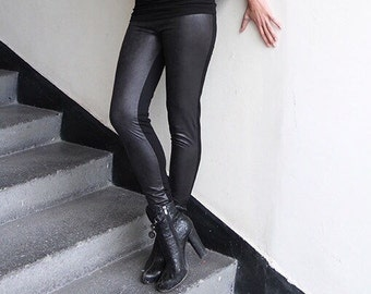 Black Faux Suede Leggings by JMSTYLE