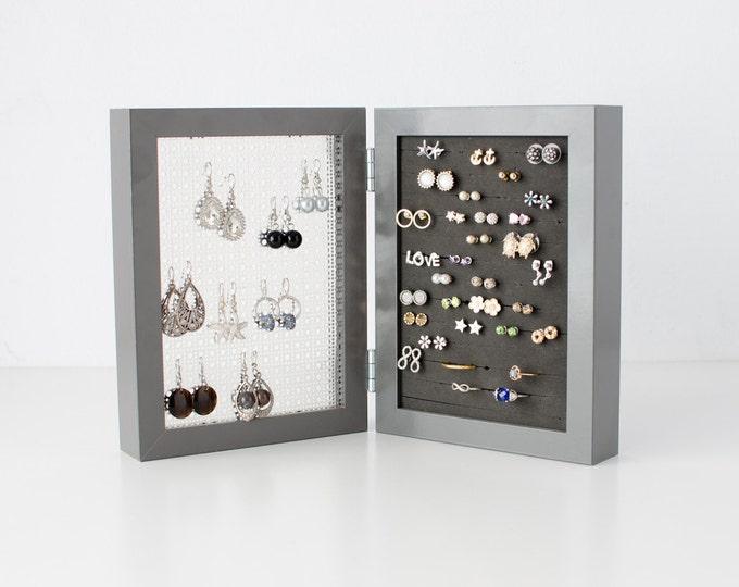 Framed Earring Holder - Dark Gray 5x7 - Earring Organizer - Stud & Hook Earring Holder