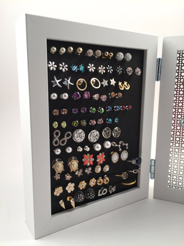 Double Framed Earring Holder  White 5x7 Frame  Jewelry Display  Hook & Stud  Earringanizer