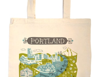 Portland Tote Bag-City Tote-Oregon Tote-Any City Tote-Turquoise-Green-Gray-Personalized-Custom