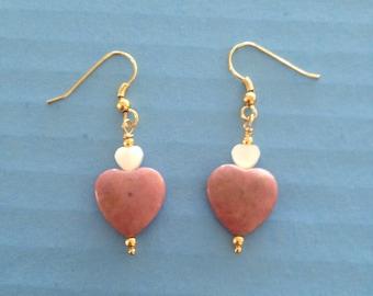 Vintage Rhondonite & Cats Eye Heart Drop Earrings