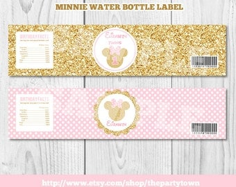 Pink and Gold Minnie Mouse Water Bottle labels, Minnie party decorations Gold Glitter, Polka Dot invite, Girl, Printable Invitation