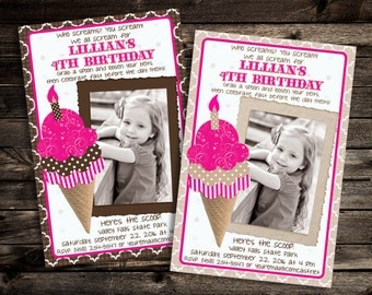 Ice Cream Birthday Party Invitation - Printable
