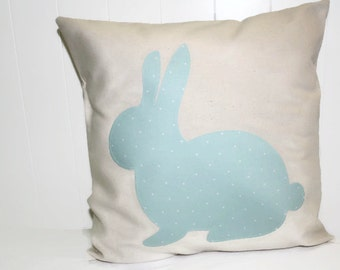 Canvas Bunny Pillow.Easter Pillow.Pink and White Bunny Pillow