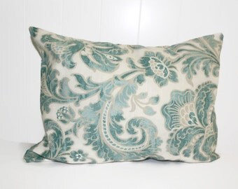 Decorative Millcreek Pillow Cover, Floral Lyncreek Aquamarine Throw Pillow 12x16, 16x16, 18x18