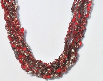 Ladder Yarn Necklace, Ribbon Necklace, Crochet Necklace, Adjustable Length, Burgundy, Red, Trellis Necklace, Womans, Gift for Her, #019