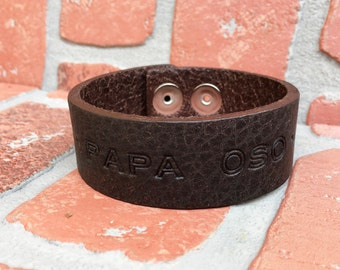 Leather stamped cuff bracelet, MAN bracelet, snap bracelet