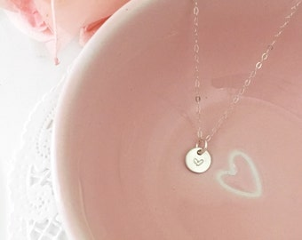Stamped heart pendant necklace