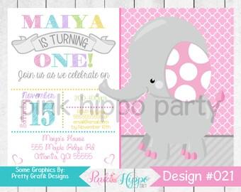 Pink Elephant First Birthday, Girl:021-Children's Birthday Invitation, Personalized, Digital, Printable, JPEG
