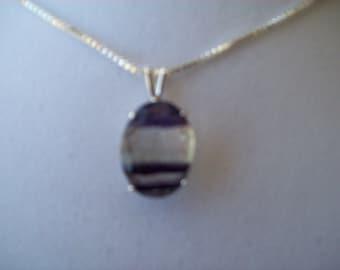 Natural Purple Fluorite Pendant in Sterling Silver 16x12 mm