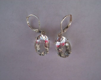 PERFECT SIZE - Genuine Crystal Quartz  Earrings in 925 Sterling Silver -Checkerboard Cut
