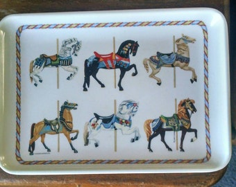 Small Melamine Tray With Carousel Horses, Made In Italy