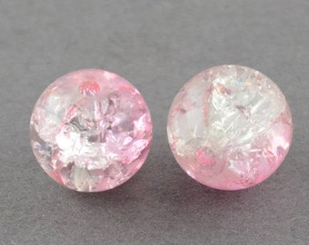"Spray Painted Crackle Glass Bead Strand, Round, Pink, 6mm; Hole: 1.3~1.6mm, 31.4""  #059"