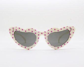 cat eye sunglasses, 50s style eyeglasses, classic cat eye, pink spot frame, rockabilly, vintage, eyewear,