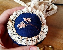 Silk Pin Cushion Drawer Freshener embroidered with hand dyed silk ribbon cherry blossom, lace trimmed, Filled with lavender.