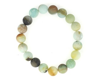 10mm Stretchy Matte Amazonite, 10mm Round Amazonite, Elastic Amazonite Bracelet, Natural Amazonite Beads, Amazonite Jewelry, Wholesale