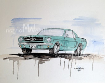 """Original """" 1964 1/2 Ford Mustang"""" Painting - 11"""" x 14"""""""