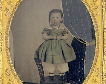 Antique 1/2 Plate Civil War Tin Type 'Little Girl w/Hiding mother-c.1860s