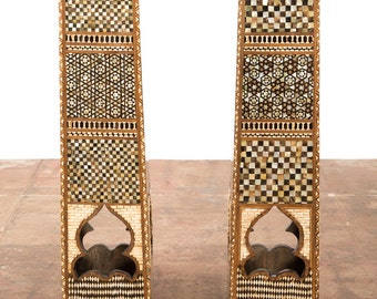 19th century Moroccan Syrian Mother of Pearl Inlaid Pedestals -a PaiR