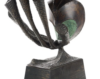 Signed Belva Ball Modernist Brutalist Metal Sculpture c.1968 -Rare
