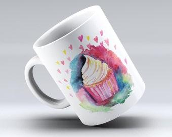 Love, Cupcakes, and Watercolor-ink Fuzed Ceramic Coffee Mug or Tea Cup