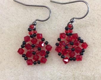 Swarovski crystal and seed bead earrings