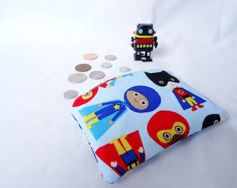 Kids superhero coin purse, superhero coin pouch, boys wallet, boys coin purse, zippered coin purse, kids wallet, kids zippered pouch