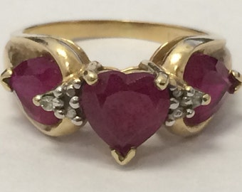 Vintage 10K GOLD Heart Ruby and Diamond Ring Size 3.5