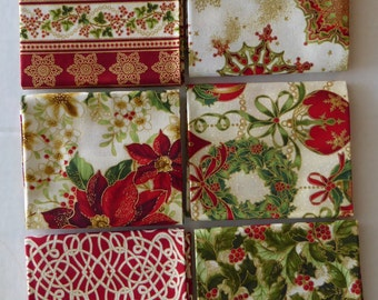 HOLIDAY FLOURISH 8~Cream Group #1~by Kaufman~ 6~Fat Quarter Bundle~ Sew~Fast Shipping FQ295