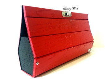 Ash wooden clutch bag Red