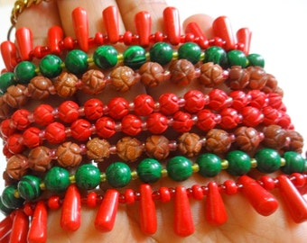 Indian Ethnic Beaded Necklace with Coral Beads - 4 Strand Necklace