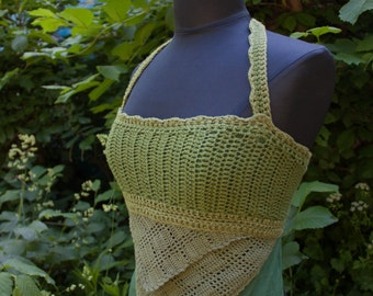 Summer Green Cotton Crochet Top