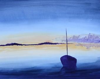 "Sunset Sailing Landscape 11"" x 17"" Watercolor Illustration"