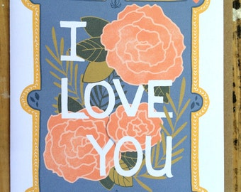 I Love You Greeting Card, Stationary, with Kraft Paper Envelope