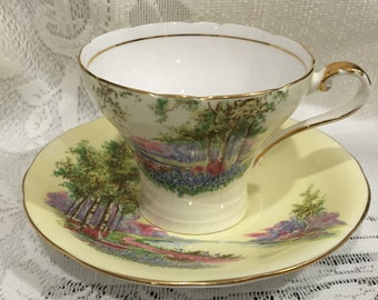 Vintage AYNSLEY Fine Bone China Tea Cup & Saucer