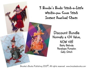3 Brooke's Books Witchie-poo Cross Stitch Instant Download Charts DISCOUNT BUNDLE Regularly 24 Value, NOW only 18