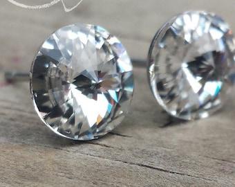 Clear Crystal Swarovski Rivoli Earrings in Hypoallergenic Stainless Steel Posts - 8mm