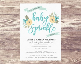 Printed Baby Sprinkle Invitation, Baby Shower Invite, Birth Announcement, Couples Baby Shower Invitation, Couples Baby Sprinkle Invite