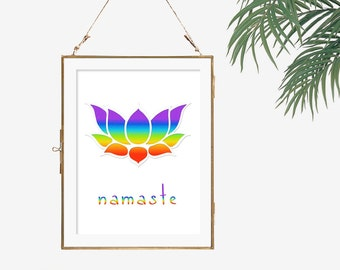 Namaste sign art 7 chakras 70s poster psychedelic wall decor lotus flower poster yoga decor peaceful wall art new age gift idea for yogi