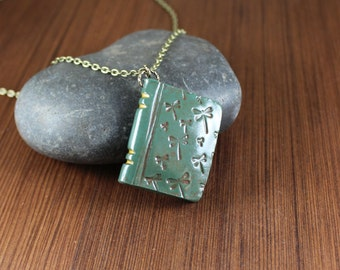 Book Pendant necklace ~ Green ~ Dragonfly