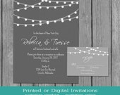 String Lights Wedding Invitation, Simple gray and white wedding, string lights, engagement, reception, birthday, RSVP, Accommodation Card