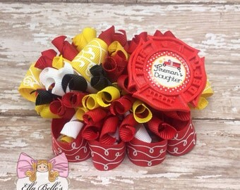 Fireman's Daughter Funky Loopy Bow~ ott fireman bow, firefighter bow