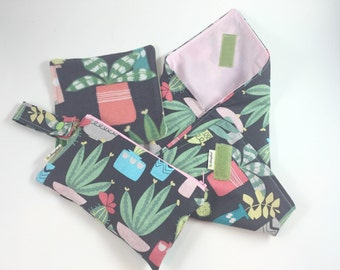 Reusable Lunch Bag Set, Snack Bag and Sandwich Wrap with Cloth Napkin set