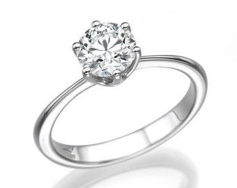 1.5 CT Solitaire Diamond Engagement Ring Platinum Round H VS2 Model PR-R1