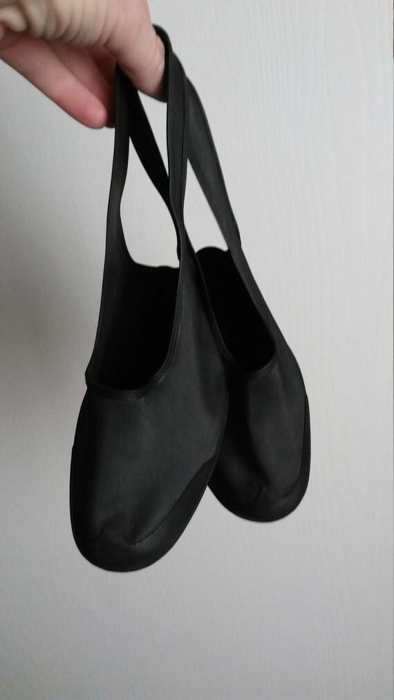 vintage 1940s black rubber high heel shoe covers galoshes