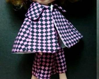 Blythe Doll Outfit black  Peach checks Cloak & pants set