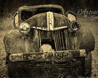 Vintage, Postcard, Sephia, Car Photography, Vintage Car photography, Ford, Man Cave, Rusty, Garage Art, Rusted Car, Rustic Wall Art